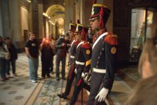 The cathedral guard drilling in preparation for an anticipated Easter visit by Pope Francis