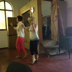 Cindy and Sandy dancing in the back of the chapel during our last session with the Holocaust Survivors.