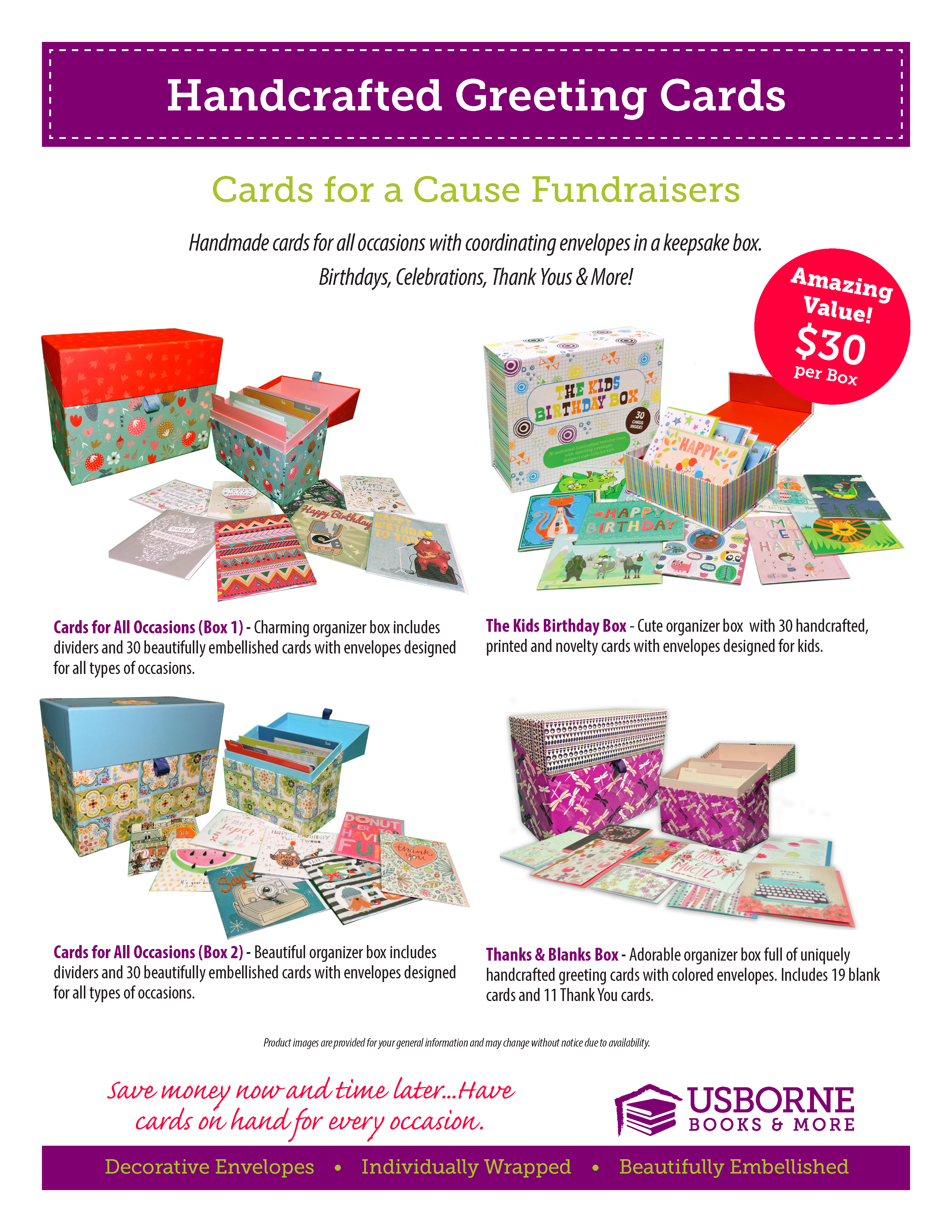 My awesome cousin, Shannon Soucie, has offered to provide us with this great fundraising opportunity again through Usborne Books Cards for a Cause program.