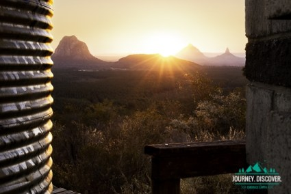 The Distinctive Peaks Of The Glass House Mountains At Sunset