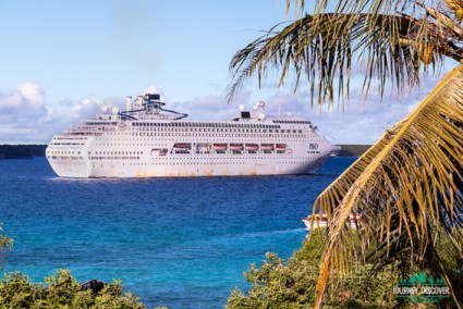 Pacific Dawn cruise ship in Santal Bay, New Caledonia