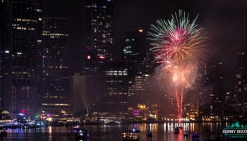 Fireworks in front of skyscrapers