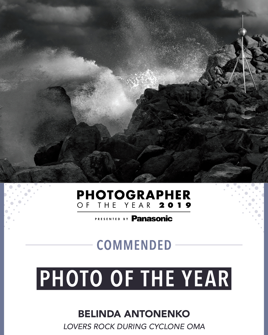 Photography -  Photographer Of The Year Award - Lovers Rock During Cyclone Oma