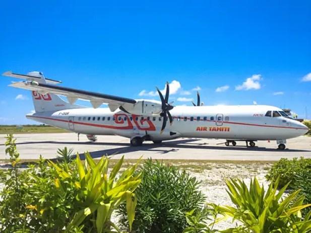 An Air Tahiti plane landed at Bora Bora