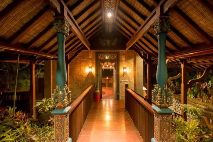An ornate bridge leads to the Honeymoon Villa entrance