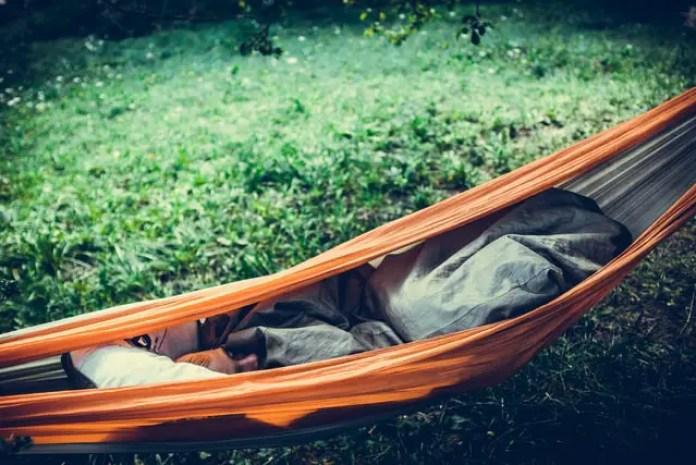 sleeping bag in a hammock