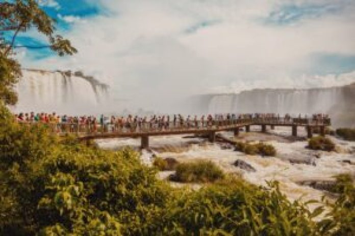 boardwalk view of the waterfall