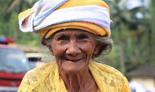 Old Balinese woman smiling
