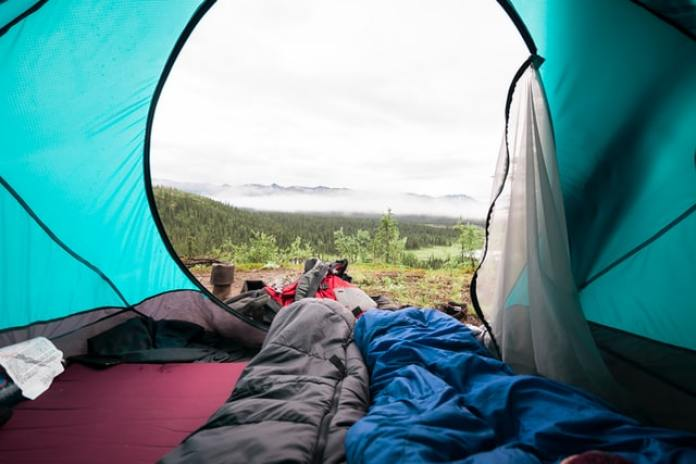 outdoor scene from inside tent