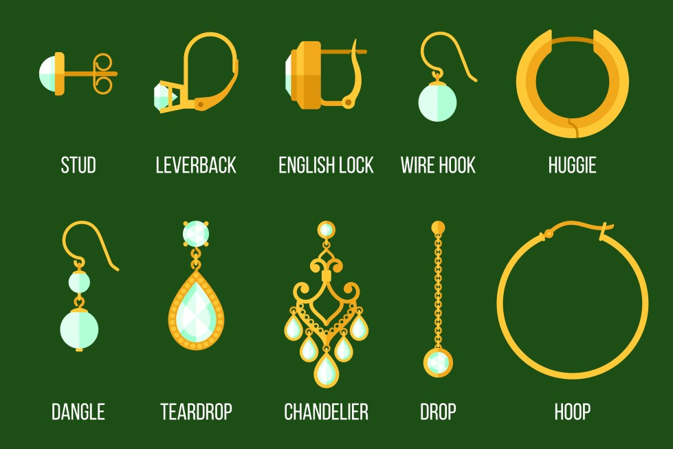 different type of earrings