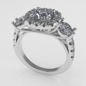 3 diamond halo engagement ring