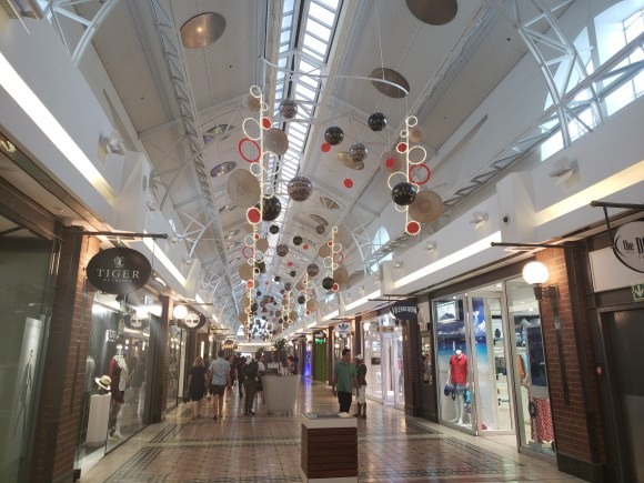 Shopping mall V and A waterfront with Christmas decorations