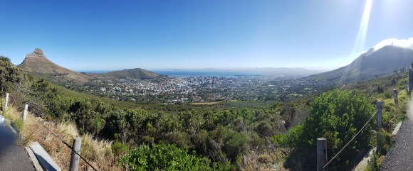 Panoramic view of mountains, city and ocean from Table Mountain