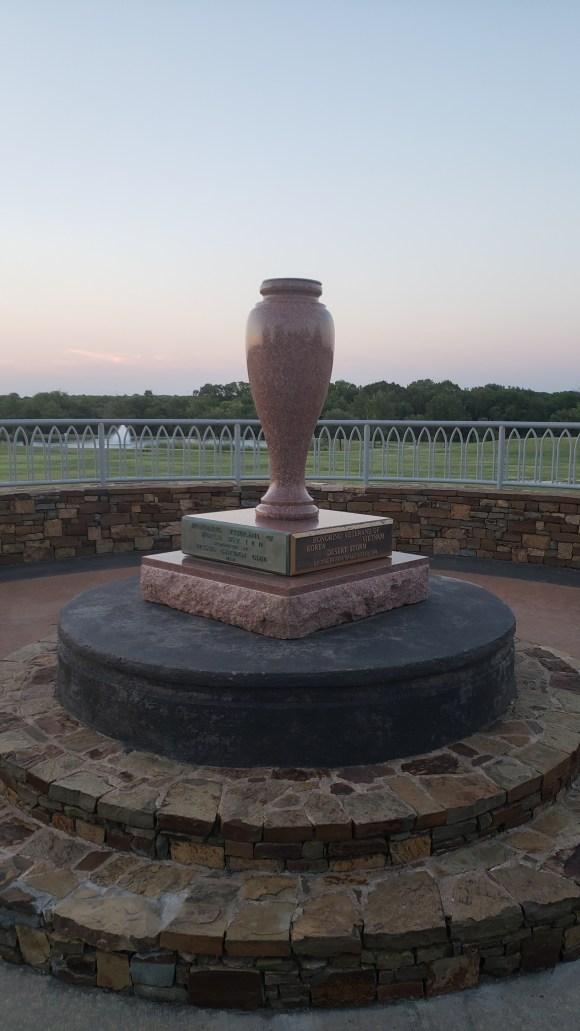 ceremonial urn at veterans memorial