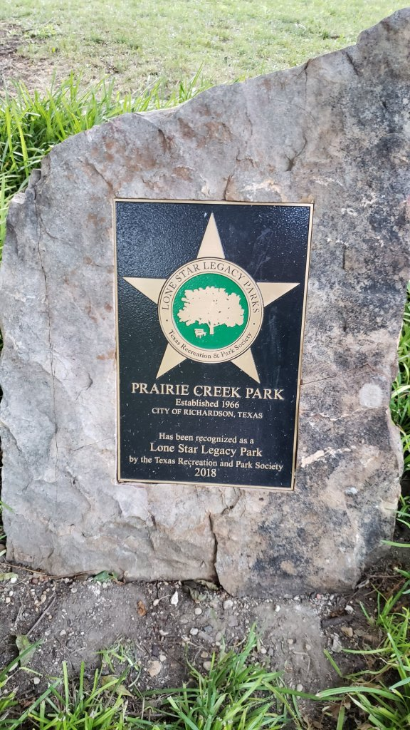 Plaque at Prairie Creek Park