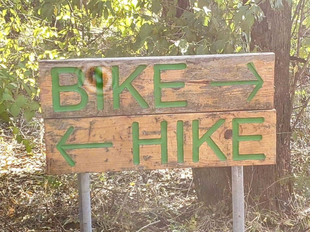 Signage for hikers and bikers
