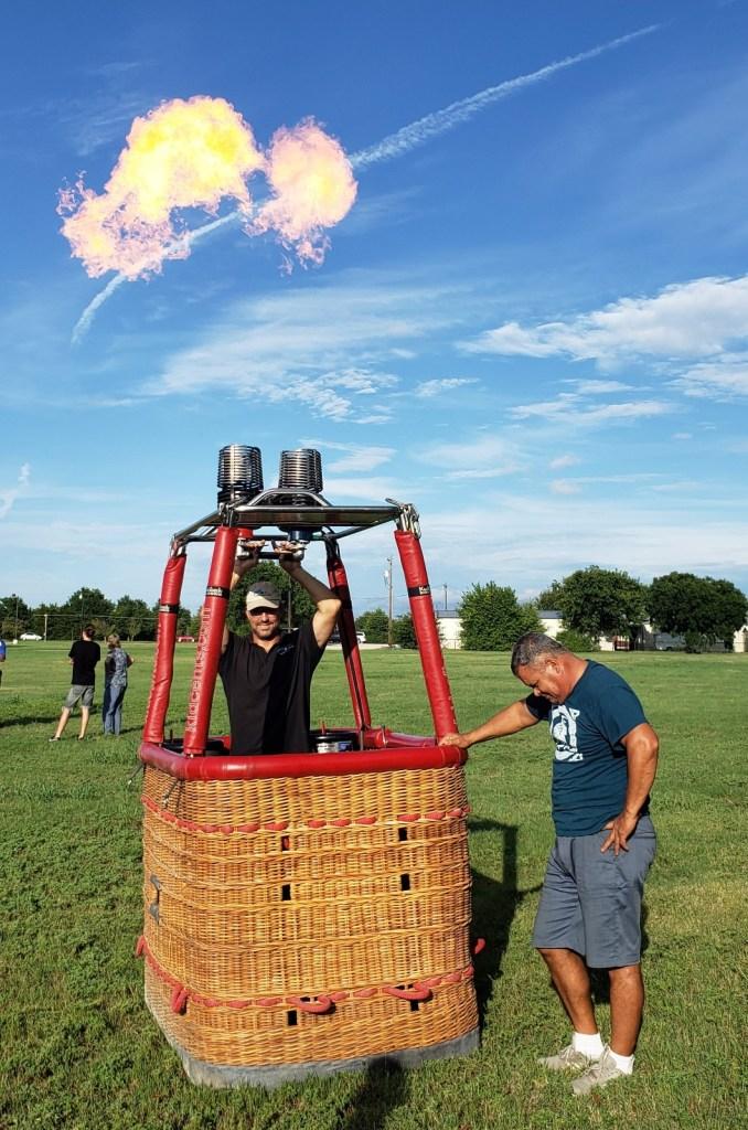 Setting up the gondola basket