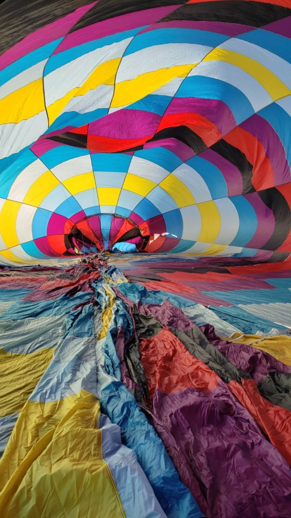 The balloon being inflated with cool air