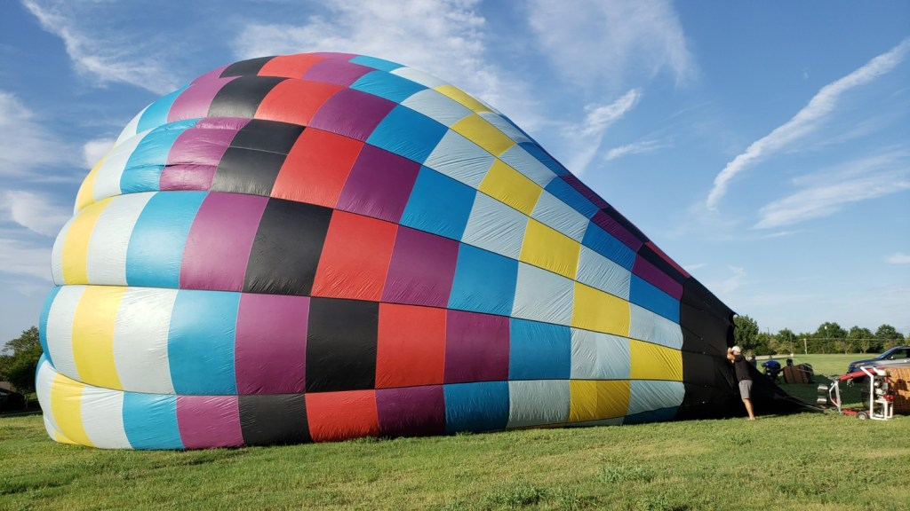 Balloon on its side, being inflated