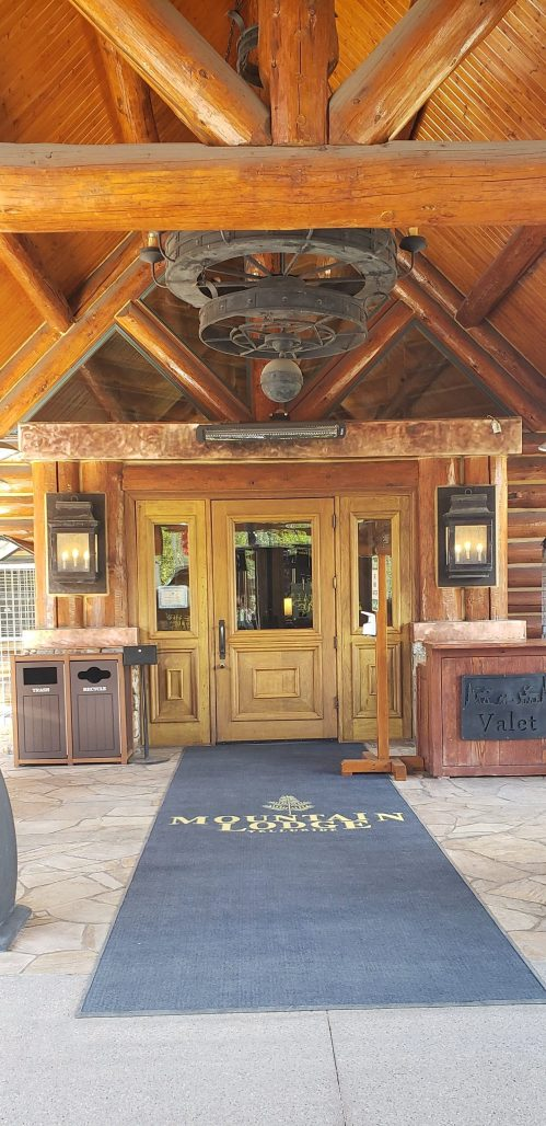 entrance to Mountain Lodge with rustic charm