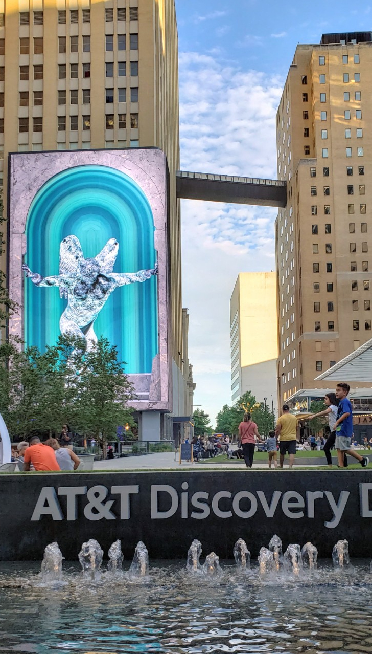 Water features and media wall at the AT&T Discovery District