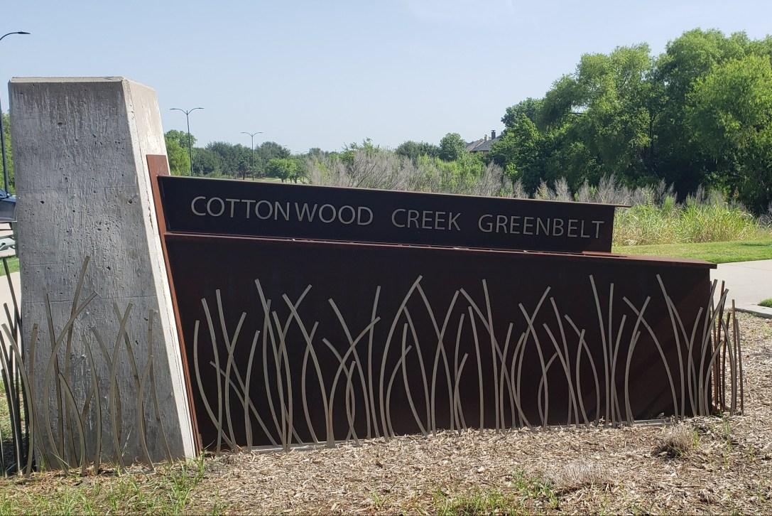 Entrance signpost for Cottonwood Creek Greenbelt