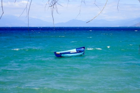 Two-toned blue boat on Lake Ohrid