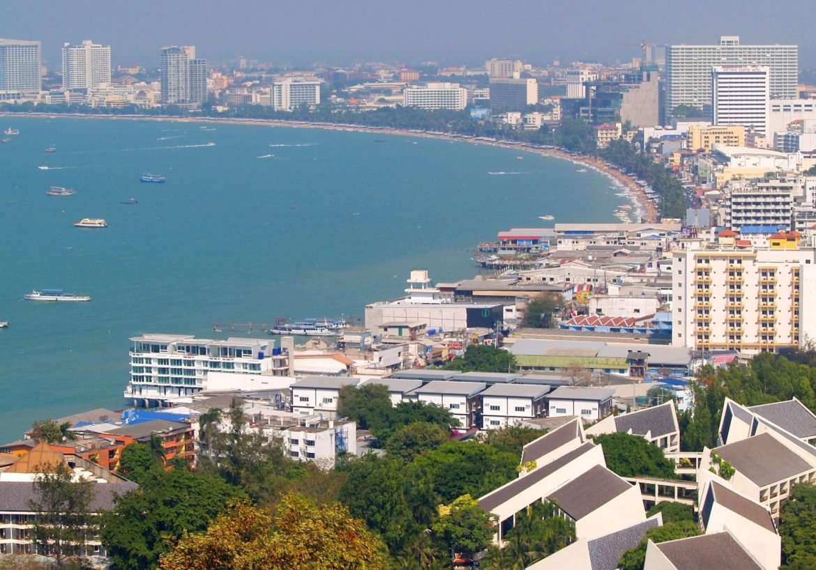 The bay from Pattaya View Point, Pattaya, Thailand.