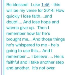 Luke 1:45 for 2014