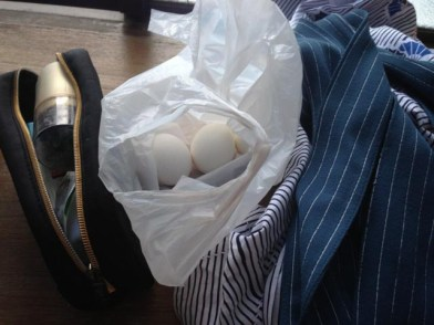 Before: eggs. Plus toiletries and yukata.