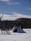 Teepee frames at the top of Mt. McKay
