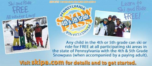 Fourth and Fifth Graders Ski & Ride for FREE in Pennsylvania