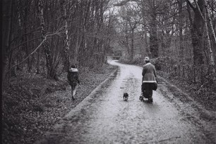 Wife, daughter and dog exploring