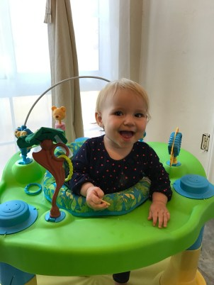 Happy girl with her teething wafer!
