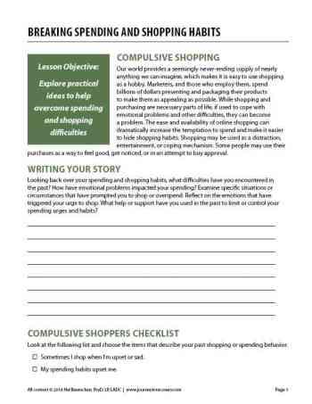 Breaking Spending and Shopping Habits (COD Worksheet)