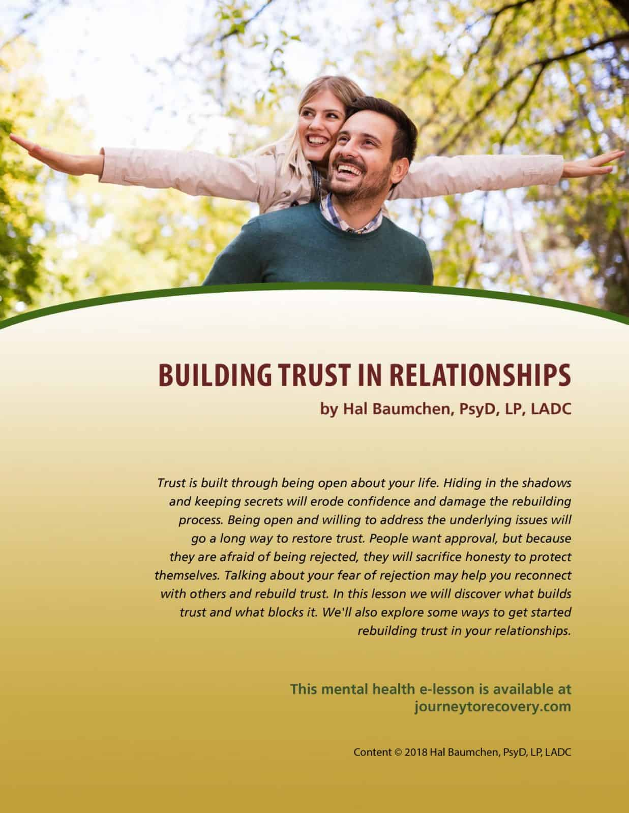 Building Trust In Relationships Mh Lesson