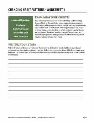 Changing Habit Patterns – Worksheet 1 (COD)