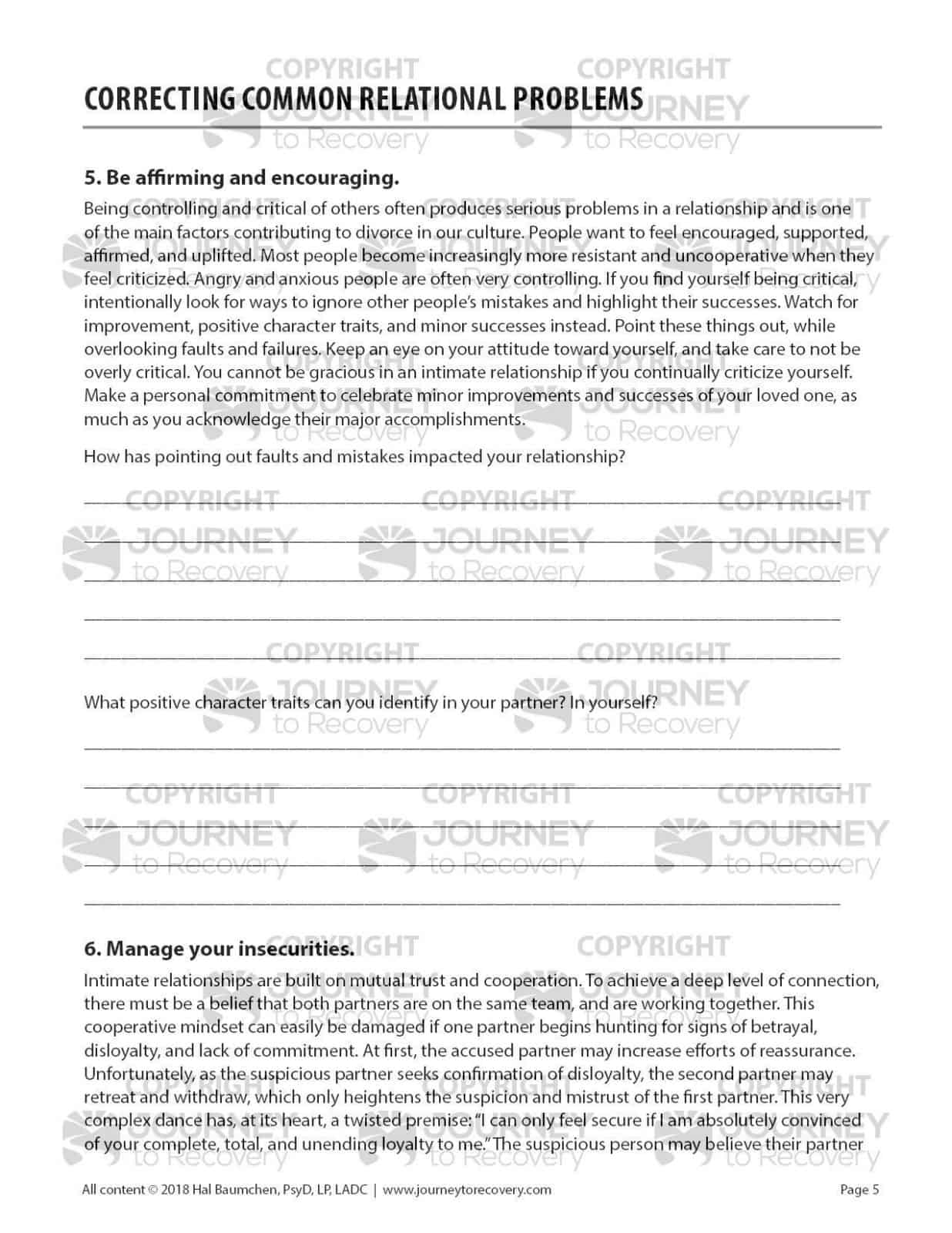 Correcting Common Relational Problems Cod Worksheet