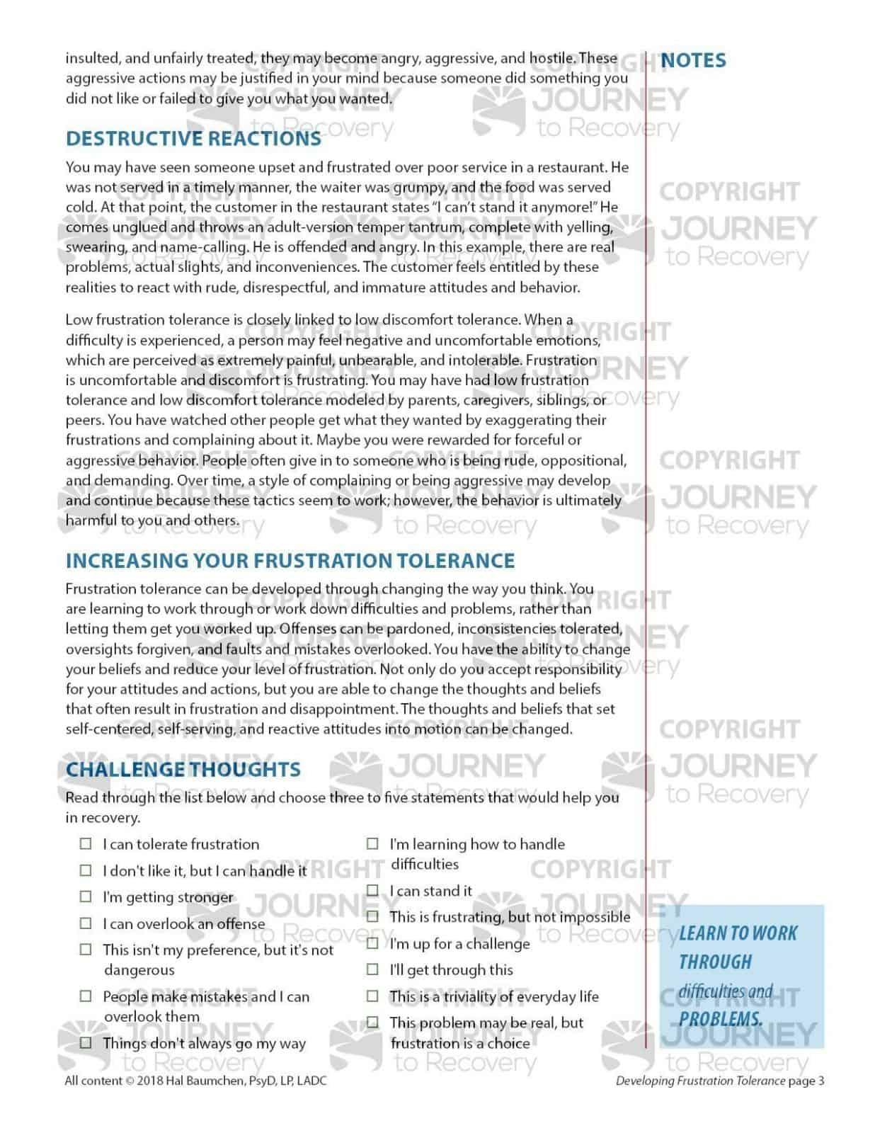 Frustration Tolerance Worksheet