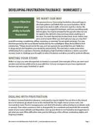 Developing Frustration Tolerance - Worksheet 2 (COD)
