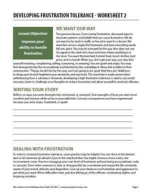 Developing Frustration Tolerance – Worksheet 2 (COD)