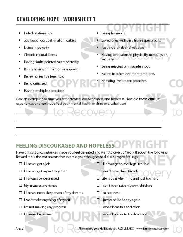 Developing Hope - Worksheet 1 (COD)   Journey to Recovery