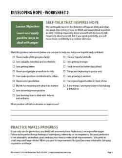 Developing Hope – Worksheet 2 (COD)