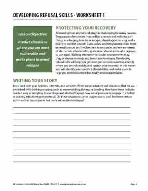 Developing Refusal Skills – Worksheet 1 (COD)