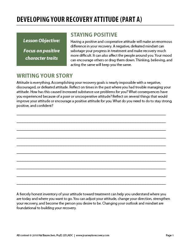 Developing Your Recovery Attitude Part A COD Worksheet Journey To Recovery