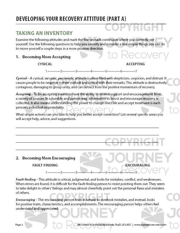Developing Your Recovery Attitude - Part A (COD Worksheet ...