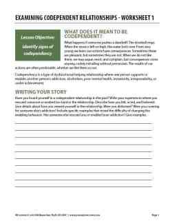 Examining Codependent Relationships – Worksheet 1 (COD)