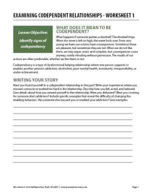 Examining Codependent Relationships – Worksheet 1 (COD)