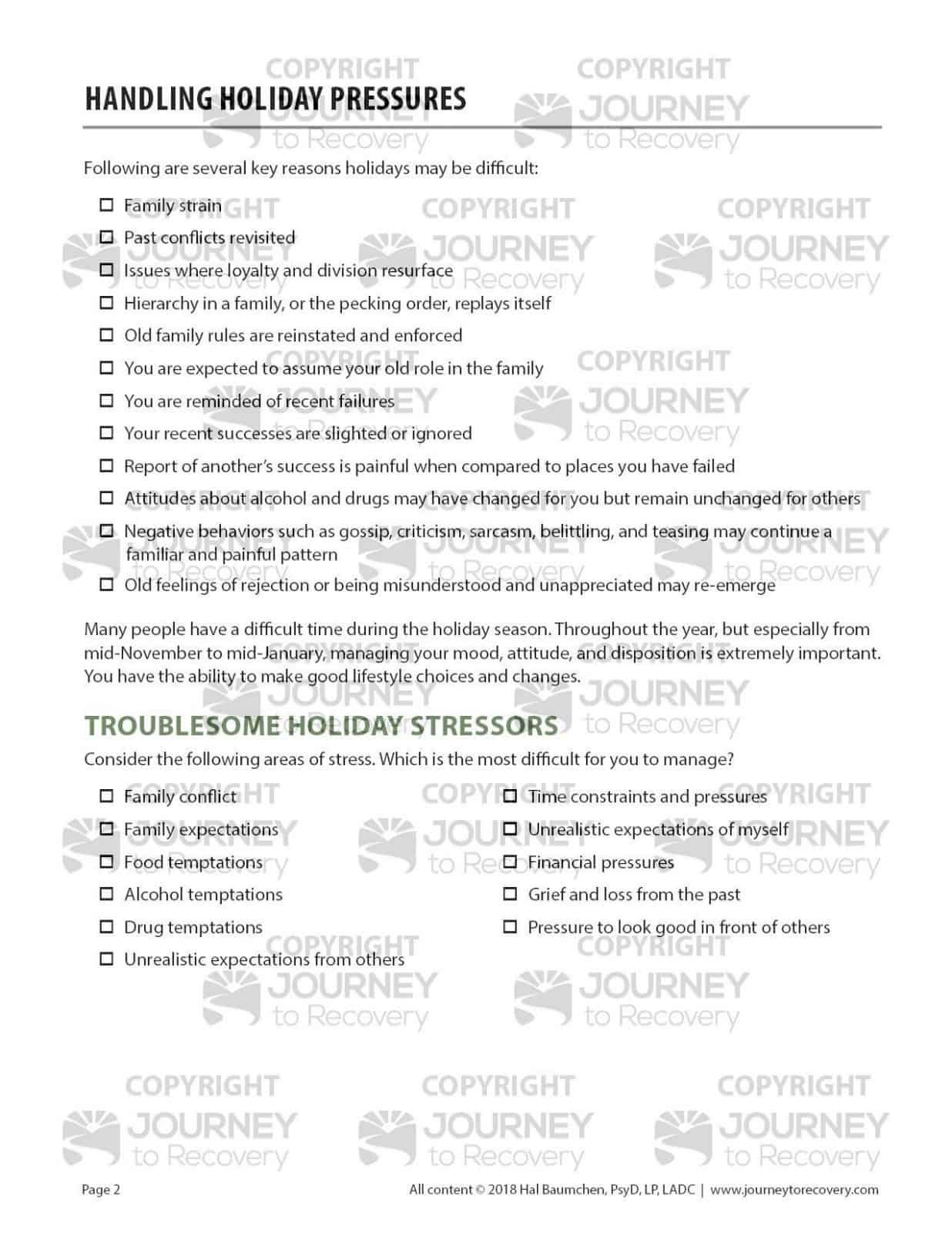 Handling Holiday Pressures Cod Worksheet