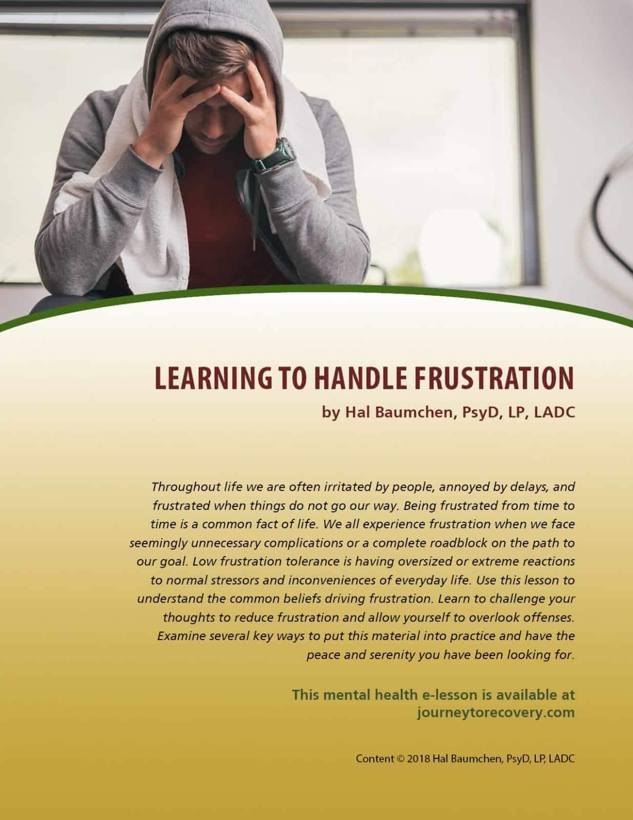 Learning To Handle Frustration Mh Lesson